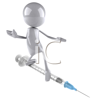 Royalty Free Clipart Image of a Guy on a Syringe