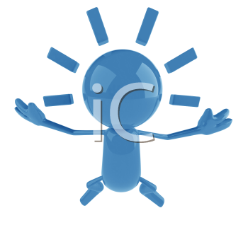 Royalty Free 3d Clipart Image of a Blue Character Jumping in the Air