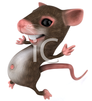 Royalty Free 3d Clipart Image of a Mouse Jumping