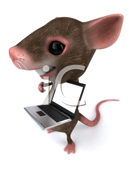 Royalty Free 3d Clipart Image of a Mouse Holding a Laptop Computer
