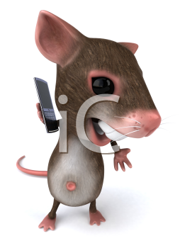 Royalty Free Clipart Image of a Mouse on a Cellphone