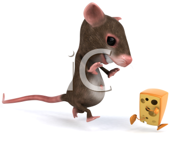 Royalty Free 3d Clipart Image of a Mouse Chasing a Running Block of Cheese