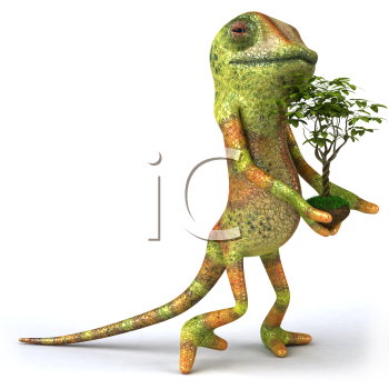 Royalty Free 3d Clipart Image of a Chameleon Holding a Small Tree