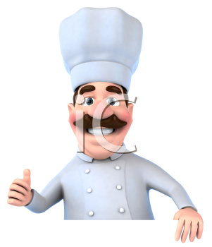 Royalty Free 3d Clipart Image of a Chef Holding a Sign Board and Giving a Thumbs Up Sign