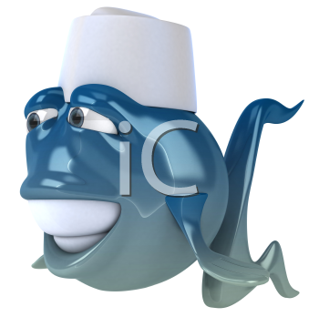 Royalty Free Clipart Image of a Fish Sushi Chef
