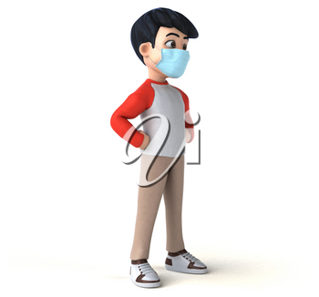 3D Illustration of a teenager with a mask