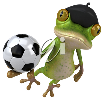 Fun french frog - 3D Illustration