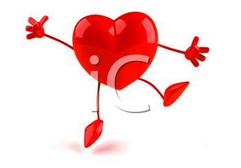Royalty Free 3d Clipart Image of a Heart Jumping