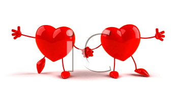 Royalty Free 3d Clipart Image of Two Hearts Holding Hands