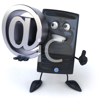 Royalty Free 3d Clipart Image of a Computer Holding a Large At Sign