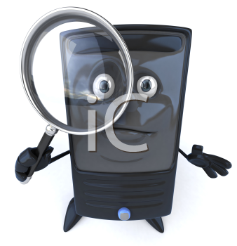 Royalty Free 3d Clipart Image of a Computer Holding a Magnifying Glass