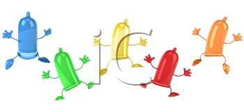 Royalty Free Clipart Image of Leaping Condom Men