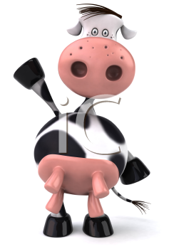 Royalty Free Clipart Image of a Holstein Cow Standing on Its Back Legs