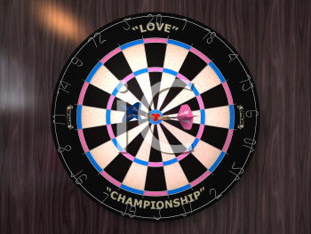 Royalty Free 3d Clipart Image of a Dart Board