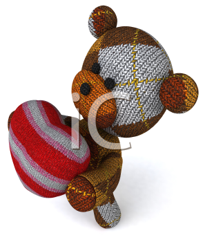 Royalty Free 3d Clipart Image of a Teddy Bear Holding a Heart