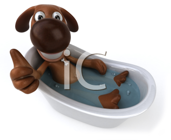 Royalty Free Clipart Image of a Dog Soaking in a Bathtub and Giving a Thumbs Up