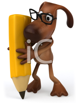 Royalty Free Clipart Image of a Dog Wearing Spectacles While Writing With a Pencil