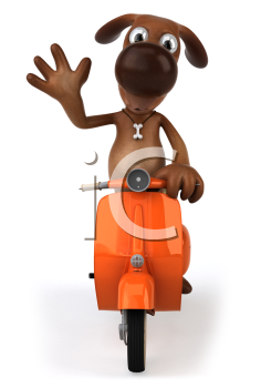 Royalty Free Clipart Image of a Dog Riding a Moped and Waving