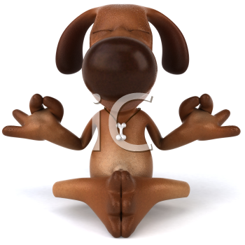 Royalty Free 3d Clipart Image of a Dog Meditating