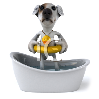 Royalty Free Clipart Image of a Jack Russell Taking a Bath