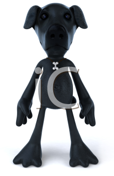 Royalty Free 3d Clipart Image of a Black Dog