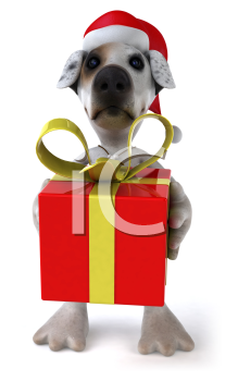 Royalty Free 3d Clipart Image of a Jack Russell Terrier Dog Wearing a Santa Hat and Holding a Gift