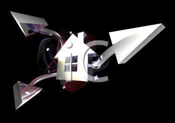 Royalty Free 3d Clipart Image of a House with Arrows Pointing From It