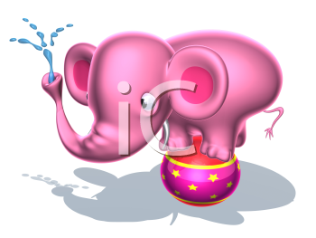 Royalty Free 3d Clipart Image of a Pink Elephant Standing on a Circus Ball