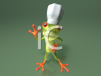 Royalty Free 3d Clipart Image of a Frog Wearing a Chef's Hat