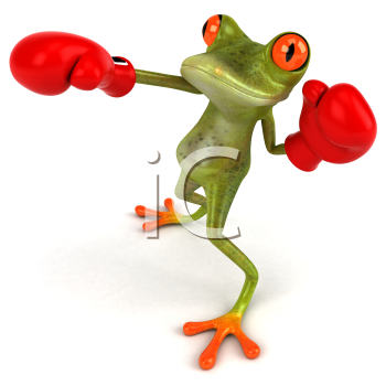 Royalty Free Clipart Image of a Frog Boxing