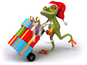 Royalty Free 3d Clipart Image of a Frog Wearing a Santa Hat and Pushing a Dolly Cart Full of Presents