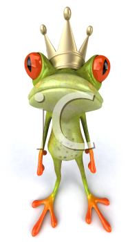 Royalty Free 3d Clipart Image of a Frog Wearing a Crown
