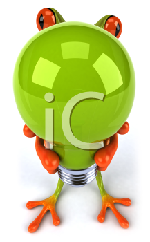 Royalty Free Clipart Image of a Frog and a Lightbulb