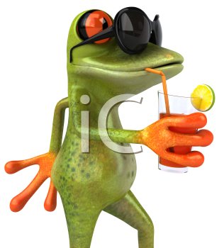 Royalty Free 3d Clipart Image of a Frog Wearing Sunglasses and Drinking a Beverage From a Straw