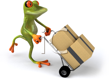 Royalty Free 3d Clipart Image of a Frog Pushing a Dolly Cart with Boxes on it