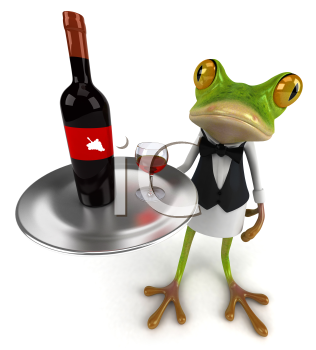 Royalty Free Clipart Image of a Frog Serving Wine