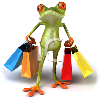 Royalty Free 3d Clipart Image of a Frog Carrying Colorful Shopping Bags