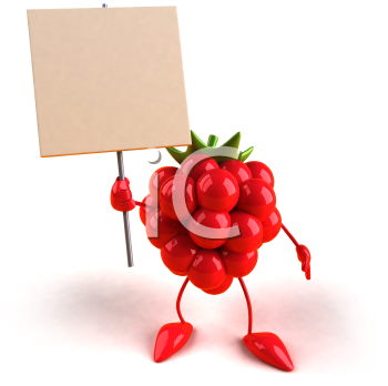 Royalty Free 3d Clipart Image of a Raspberry Holding a Sign
