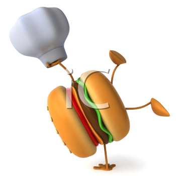 Royalty Free Clipart Image of a Hamburger Chef Doing a Handstand