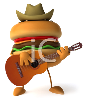 Royalty Free Clipart Image of Burger Wearing a Cowboy Hat and Playing a Guitar