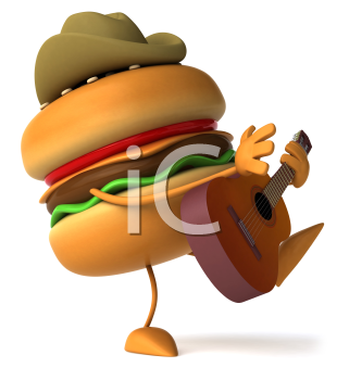 Royalty Free Clipart Image of a Hamburger in a Cowboy Hat Playing a Guitar