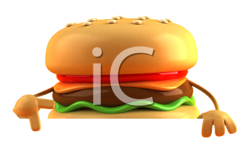 Royalty Free 3d Clipart Image of a Hamburger Pointing to a Sign Board