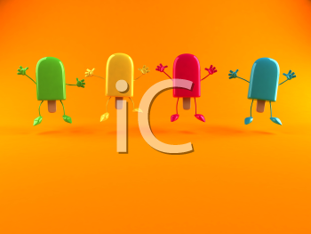 Royalty Free 3d Clipart Image of Popsicles