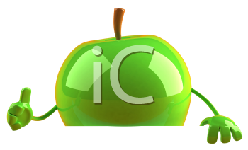Royalty Free 3d Clipart Image of a Green Apple
