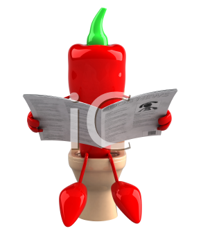 Royalty Free Clipart Image of a Red Pepper on a Toilet