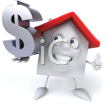 Royalty Free 3d Clipart Image of a House Holding a Dollar Sign Giving a Thumbs Up Sign