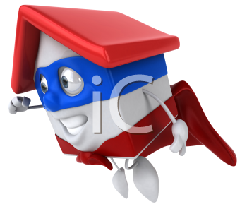 Royalty Free Clipart Image of a Superhero House Taking off