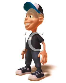 Royalty Free 3d Clipart Image of a White Youth