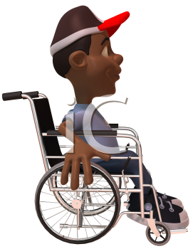 Royalty Free 3d Clipart Image of an African American Youth in a Wheelchair