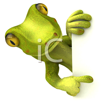 Royalty Free 3d Clipart Image of a Gecko Pointing to a Sign